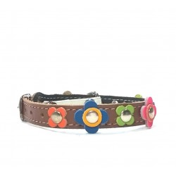Happy Style Leather Flower Cat Collar