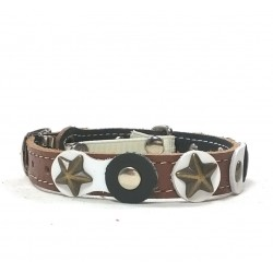 Cool and Original Brown Cat Collar with Black and white Leather parts and Rivets
