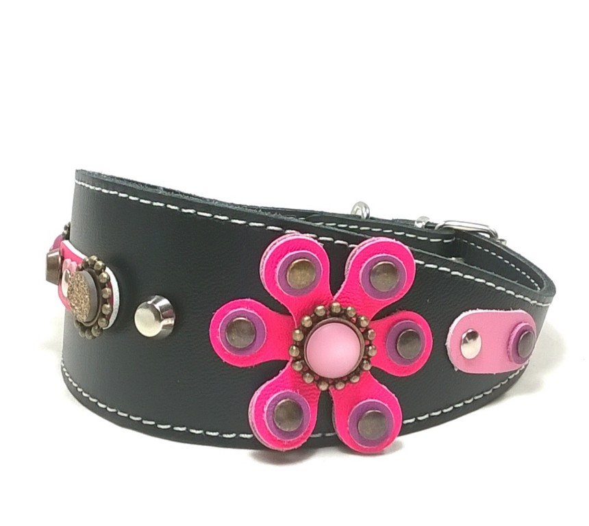 For Greyhounds, Galgos , Lurchers and Whippets in the Pet Boutique Original and Exclusive Wide Leather Designer Collars .
