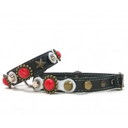 Beautiful Leather Collar for Dogs and matching Bracelet with red coral Style Polaris stones