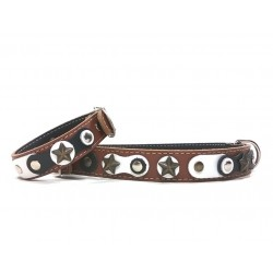 Cool and Original Brown Dog Collar and Bracelet with Black and white Leather parts and Rivets