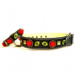 Black Leather Dog Collar & Bracelet with beautiful Red Roses and sweet Green leaves