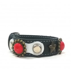 Leather Rivet Bracelet Design with Red Polaris coral stones