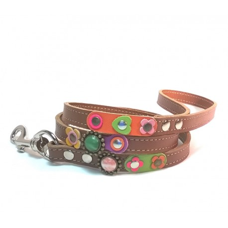 Vintage Style Leather Dog leash with Beautiful Flowers Leather Hearts and Pink Roses