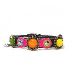 Happy Colorful Leather Cat Collar