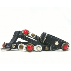 Beautiful Leather Harness for Small Dogs and Bracelet with Red Coral Style Polaris stones