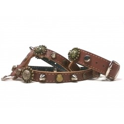Leopard Design Handmade Leather Studded Chihuahua or Small Dog Harness with Bracelet