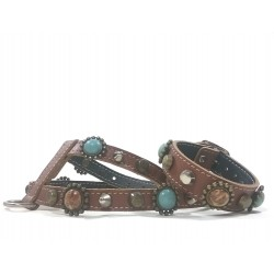 Bohemian Style Leather Harness for Chihuahuas and small Dogs with Matching Bracelet