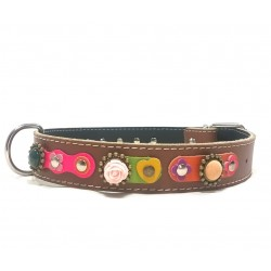Vintage Style Dog Collar with Beautiful Flowers Leather Hearts and Pink Roses