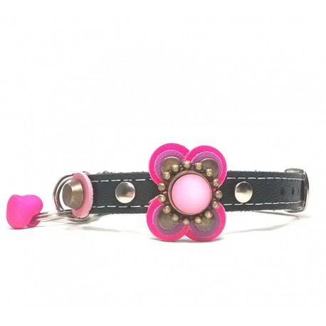 Luxury Chic and Fashionable Collar for Small Dogs with Nice Pink Fuchsia Leather Flower
