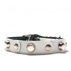 Fancy Leather Cat Collar with White pieces of Leather and Studs