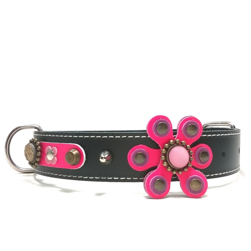 Beautiful Jewelry Big Luxury Dog Collar With Pink And Purple Flower