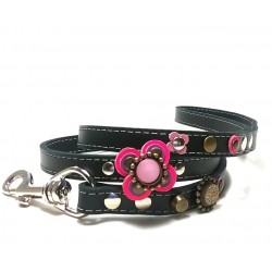 Beautiful Luxury Dog Leash with Pink and Purple Big Leather Flower