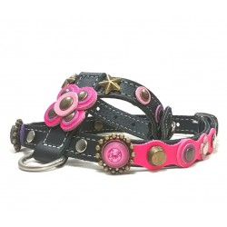 Beautiful Luxury Dog Harness with Pink and Purple Big Leather Flower