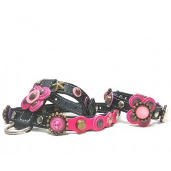 Beautiful Luxury Dog Harness and Bracelet with Pink and Purple Big Leather Flower