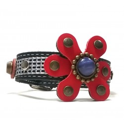 Fancy Exclusive Leather Bracelet with beautiful Leather Poppy Flowers