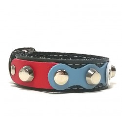 Red White Blue Attractive Black Leather Bracelet with nice Rivets