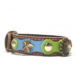 Original Fashionable Leather Bracelet with beautiful Blue Green Pastel Colors and Polaris Stones