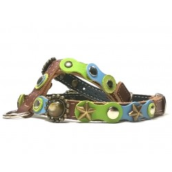 Original Fashionable Dog Harness with beautiful Blue Green Pastel Colors and Polaris Stones