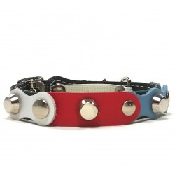Red White Blue Black Leather Cat Collar with Studs