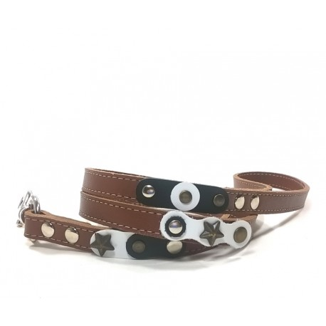 Unusual Cool Brown Dog Leash with Black and white Leather parts and Rivets
