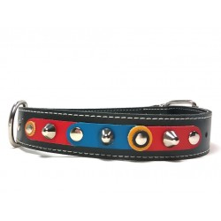 FC Barcelona Barça Big Size Studded Dog Collar with beautiful Leather Studded Patches