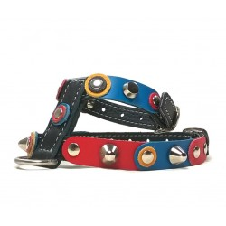 Unique Sporty Small Studded Dog Harness with beautiful Leather Studded Patches