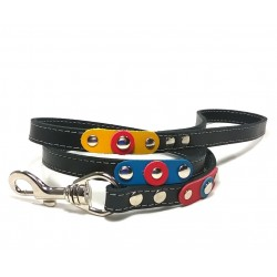 Unique Sporty Studded Leather Dog Leash with beautiful Leather Studded Patches