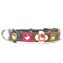 Happy Style Leather Flower Dog Collar