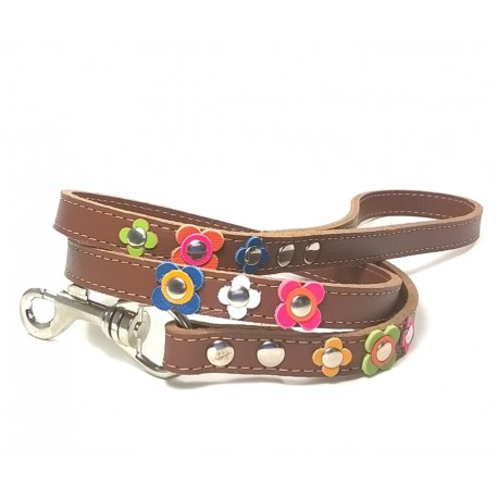 Happy Style Leather Dog leash with Flowers