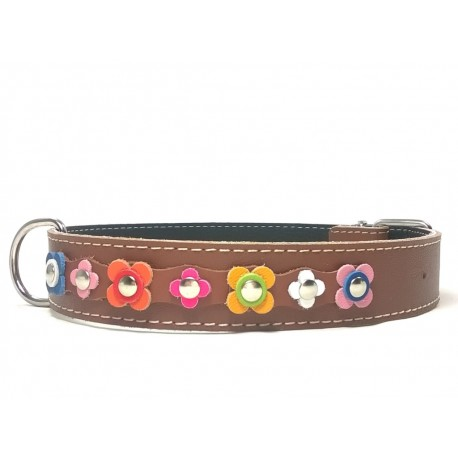 Happy Style Leather Flower Big Dog Collar