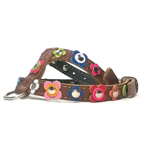 Happy Style Leather Flower Dog Harness
