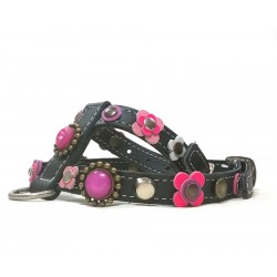 Beautiful Luxury Dog Harness with Pink and Purple Patches and Luxury Polaris Strass Stones