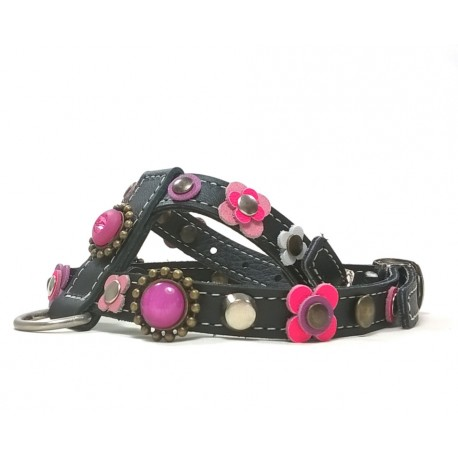 Beautiful Luxury Dog Harness with Pink and Purple Patches and Luxury Polaris Stones
