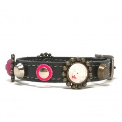 Beautiful Luxury Leather Bracelet with Pink and Purple Patches and Luxury Polaris Strass Stones