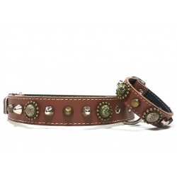 Midsize Leopard Design Handmade Leather Studded Dog Collar with beautiful Bracelet