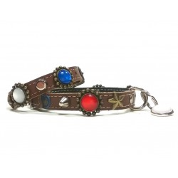 Fancy Dog Collar and Bracelet with Red White and Blue Polaris Stones