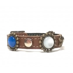 Fancy Leather Bracelet with Red White and Blue Polaris Stones