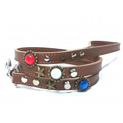 Fancy Leather Dog Lead with Red White and Blue Polaris Stones