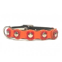 Beautiful and Unique Flower Power Cat Collar with orange and red Leather patches