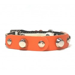 Fancy Leather Cat Collar with Orange Leather pieces and Studs