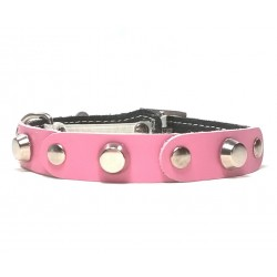 Fancy Leather Cat Collar with Pink Leather pieces and Studs