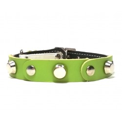 Fancy Leather Cat Collar with Green Leather pieces and Studs