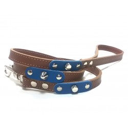 Dog Lead with Fancy Blue Leather Pieces and Rivets