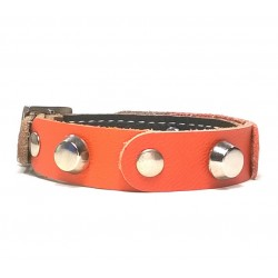 Leather Bracelet with Fancy Orange Leather Pieces and Rivets