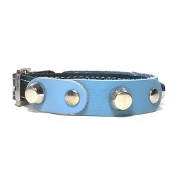 Leather Bracelet with Fancy Blue Leather Pieces and Rivets