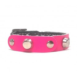 Leather Bracelet with Fancy Fuchsia Leather and Rivets