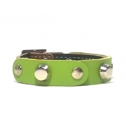 Leather Bracelet with Fancy Green Leather Pieces and Spikes