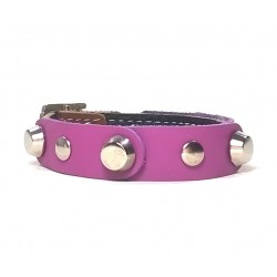 Leather Bracelet with Fancy Purple Leather Pieces and Pins