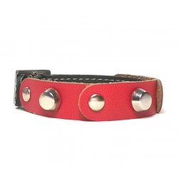 Leather Bracelet with Fancy Red Leather and Spikes